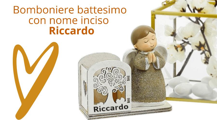 Bomboniere battesimo con nome inciso Riccardo con angioletto e cuore
