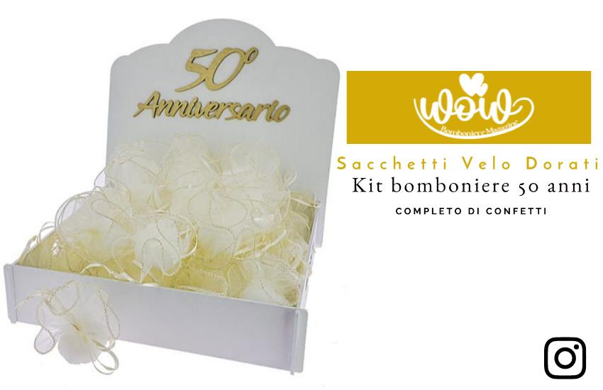 Kit bomboniere 50 anni con velo bordato oro completo di confetti